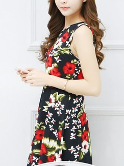 Red and Black Fit  Flare Above Knee Floral Plus Size Dress for Casual Party Special Offer