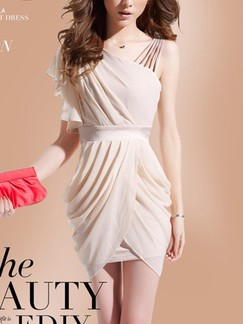 Beige One Shoulder Bodycon Above Knee Plus Size Dress for Cocktail Evening Party