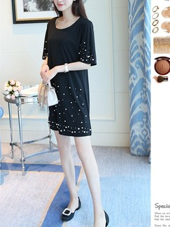 Black Shift Above Knee Plus Size Dress for Casual