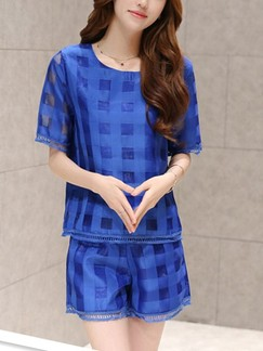 Blue Two Piece Shirt Shorts Plus Size Jumpsuit for Casual Evening Special Offer
