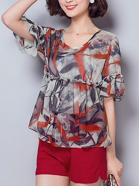 Red and Grey Two Piece Shirt Shorts Plus Size Jumpsuit for Casual Evening Office Special Offer