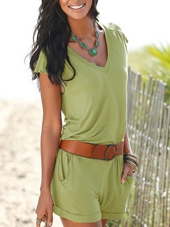 Green One Piece Shorts Plus Size V Neck Jumpsuit for Casual Beach Special Offer
