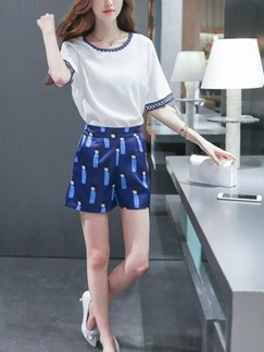 White and Blue Two Piece Shirt Shorts Plus Size Jumpsuit for Casual Evening Office Special Offer