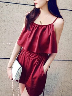 Red One Piece Slip Shorts Plus Size Jumpsuit for Casual