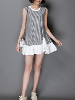 Grey and White Shift Above Knee Plus Size Dress for Casual Party