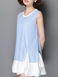 Blue and White Shift Above Knee Plus Size Dress for Casual Party