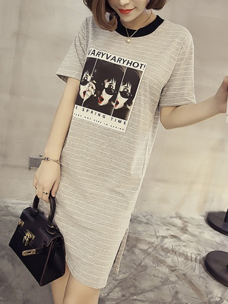 Grey T-Shirt Shift Above Knee Plus Size Dress for Casual