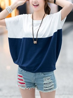White and Blue T-Shirt Plus Size Top for Casual