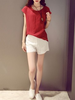 Red and White Two Piece Shirt Shorts Plus Size Jumpsuit for Casual Office