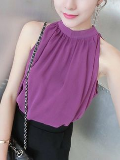 Purple Blouse Halter Top for Casual Evening party