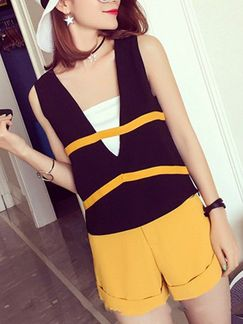 Black White and Yellow Two Piece Shirt Shorts Jumpsuit for Casual Evening Party Special Offer