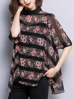 Black and Pink T-Shirt Floral Plus Size Top for Casual Evening Party