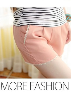 Pink Plain Shorts for Casual