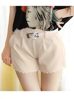 Beige Plain Shorts for Casual