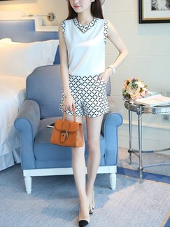 Black and White Two Piece Blouse Shorts Plus Size Jumpsuit for Casual Office Evening