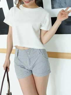 Grey Printed Plus Size Shorts for Casual