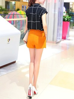 Black and Orange Two Piece Blouse Shorts Plus Size Jumpsuit for Office Casual Evening Party Special Offer