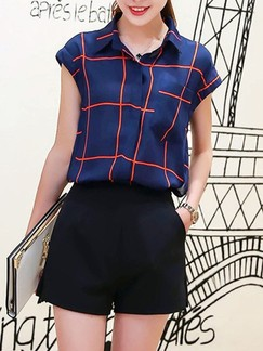 Black and Blue Two Piece Blouse Shorts Plus Size Jumpsuit for Office Casual Evening Party Special Offer