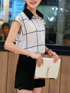 Black and White Two Piece Blouse Shorts Plus Size Jumpsuit for Office Casual Evening Party Special Offer