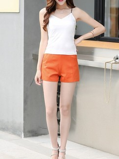 Orange Plain Plus Size Shorts for Casual Office Evening Special Offer