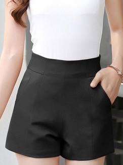 Black Plain Plus Size Shorts for Casual Office Evening Special Offer