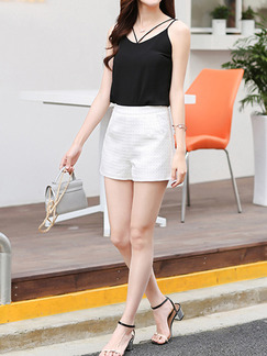 White Plain Plus Size Shorts for Casual Office Special Offer