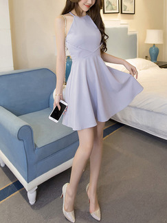 Grey Fit  Flare Above Knee Halter Dress for Casual Evening Party Special Offer