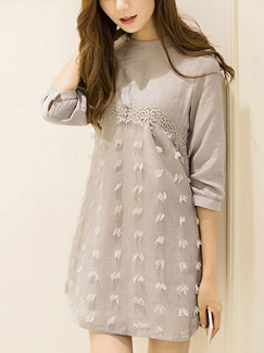 Grey Shift Above Knee Plus Size Dress for Casual Party Evening  Special Offer