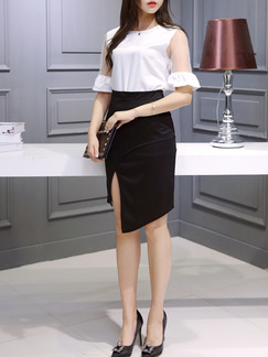Black and White Sheath Knee Length Plus Size Dress for Casual Office Evening Special Offer