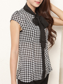 Black and White Blouse Plus Size Printed Top for Casual Office Special Offer