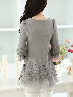 Grey Blouse Long Sleeve Plus Size Lace Top for Casual Evening