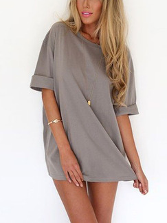 Grey Shift Above Knee Plus Size Dress for Casual Party Evening