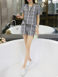 Grey Two Piece Shirt Shorts Plus Size Jumpsuit for Casual Office