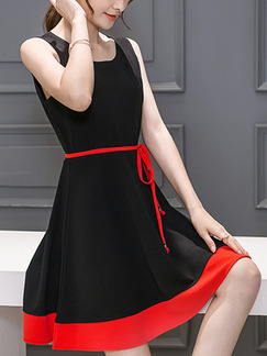 Black and Red Fit  Flare Above Knee Plus Size Dress for Casual Party Evening Special Offer