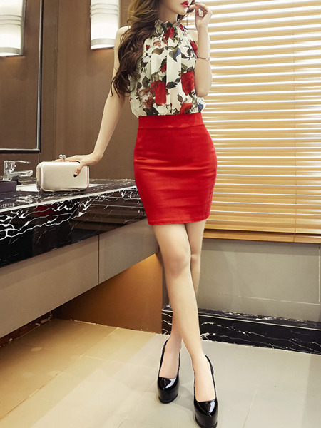 Beige and Red Bodycon Floral Above Knee Plus Size Dress for Cocktail Party Evening