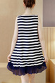 Blue Stripe Shift Above Knee Plus Size V Neck Dress for Casual