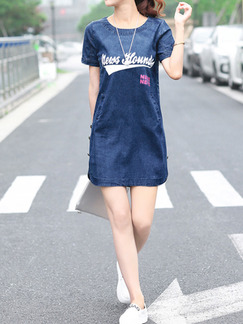Blue Shift Above Knee Plus Size Denim Dress for Casual