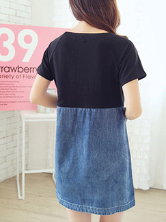 Black and Blue Shift Above Knee Denim Dress for Casual