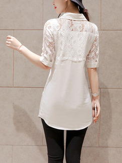 White Blouse Lace Plus Size Top for Casual Office Evening