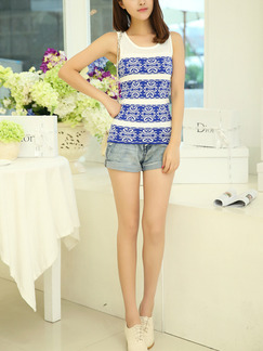 White and Blue Tank Top for Casual