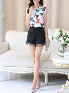White and Black Two Piece Shirt Shorts Plus Size Jumpsuit for Casual Office Evening Special Offer