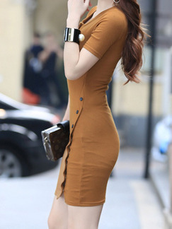 Brown Bodycon Above Knee Dress for Casual Party Evening