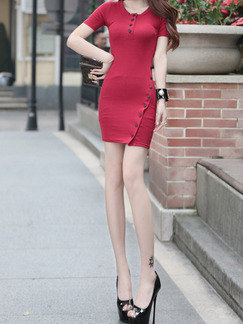 Red Bodycon Above Knee Dress for Casual Party Evening
