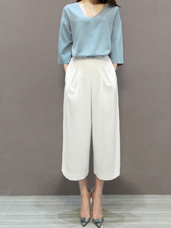 Blue and White Two Piece Blouse Pants V Neck Plus Size Jumpsuit for Casual Office