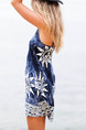 Blue and White Shift Slip Above Knee Plus Size V Neck Dress for Casual Beach Seasonal Discount