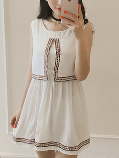 White Fit & Flare Above Knee Dress for Casual Party