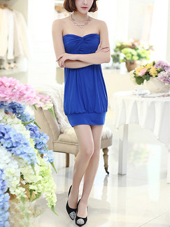Blue Strapless Bodycon Above Knee Dress for Party Evening Cocktail Seasonal Discount