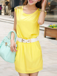 Yellow Above Knee Plus Size Sheath Dress for Casual Office Evening Seasonal Discount