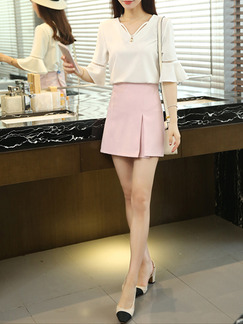 White and Pink Cute Two Piece Above Knee Sheath V Neck Plus Size Dress for Casual Office Evening Seasonal Discount