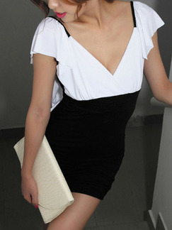 Black and White Bodycon V Neck Backless Above Knee Dress for Party Evening Cocktail Seasonal Discount